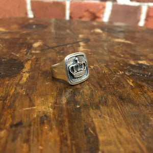 STG SILVER SIGNET crown ring
