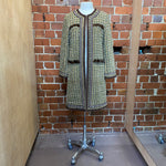 MOSCHINO mink trim tweed coat
