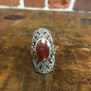 Amber, sterling silver and marcasite ring