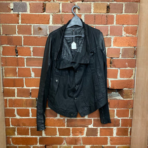 RICK OWENS leather and denim jacket