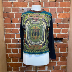 JEAN PAUL GAULTIER wool 1900s money print top