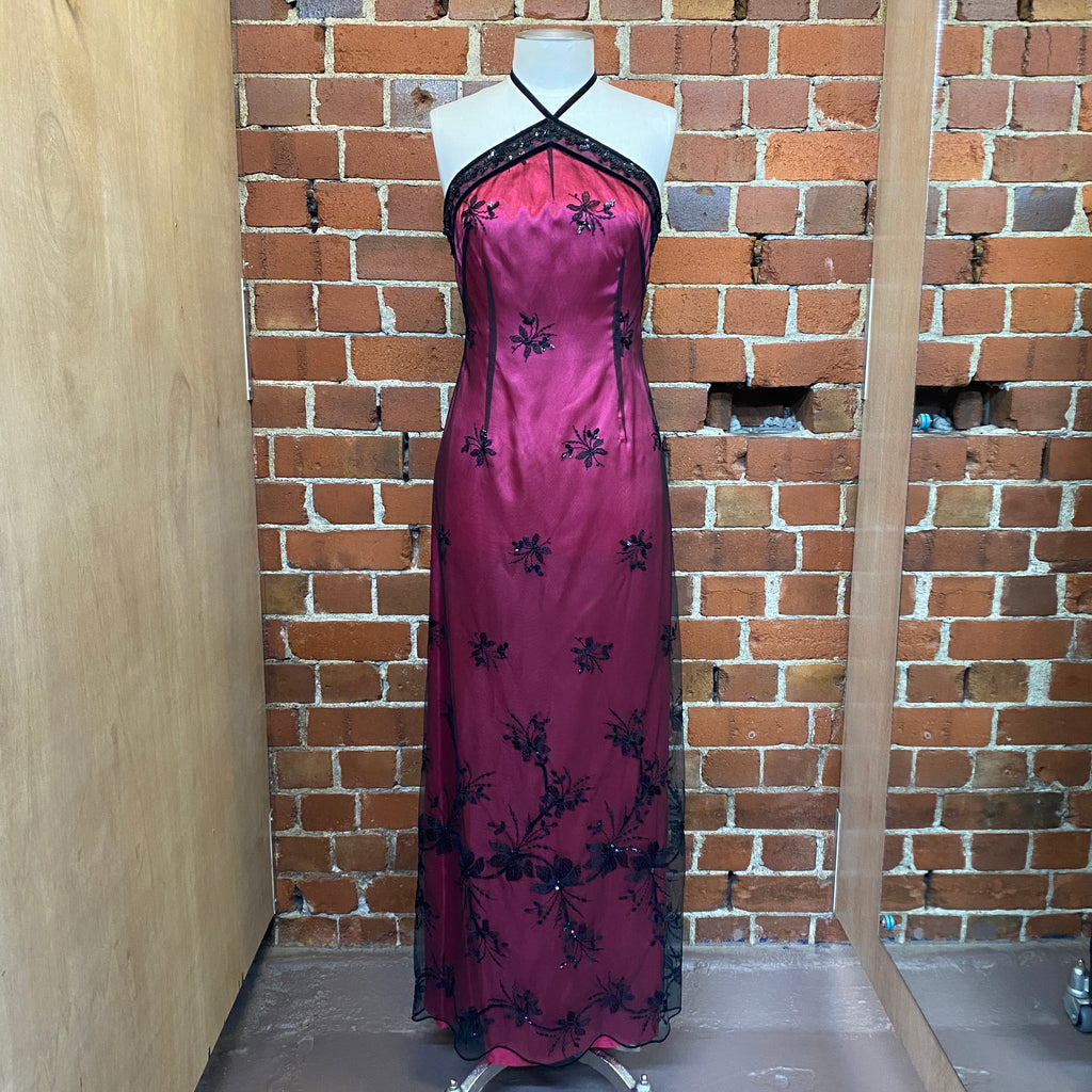 English Designer 1990s halter gown