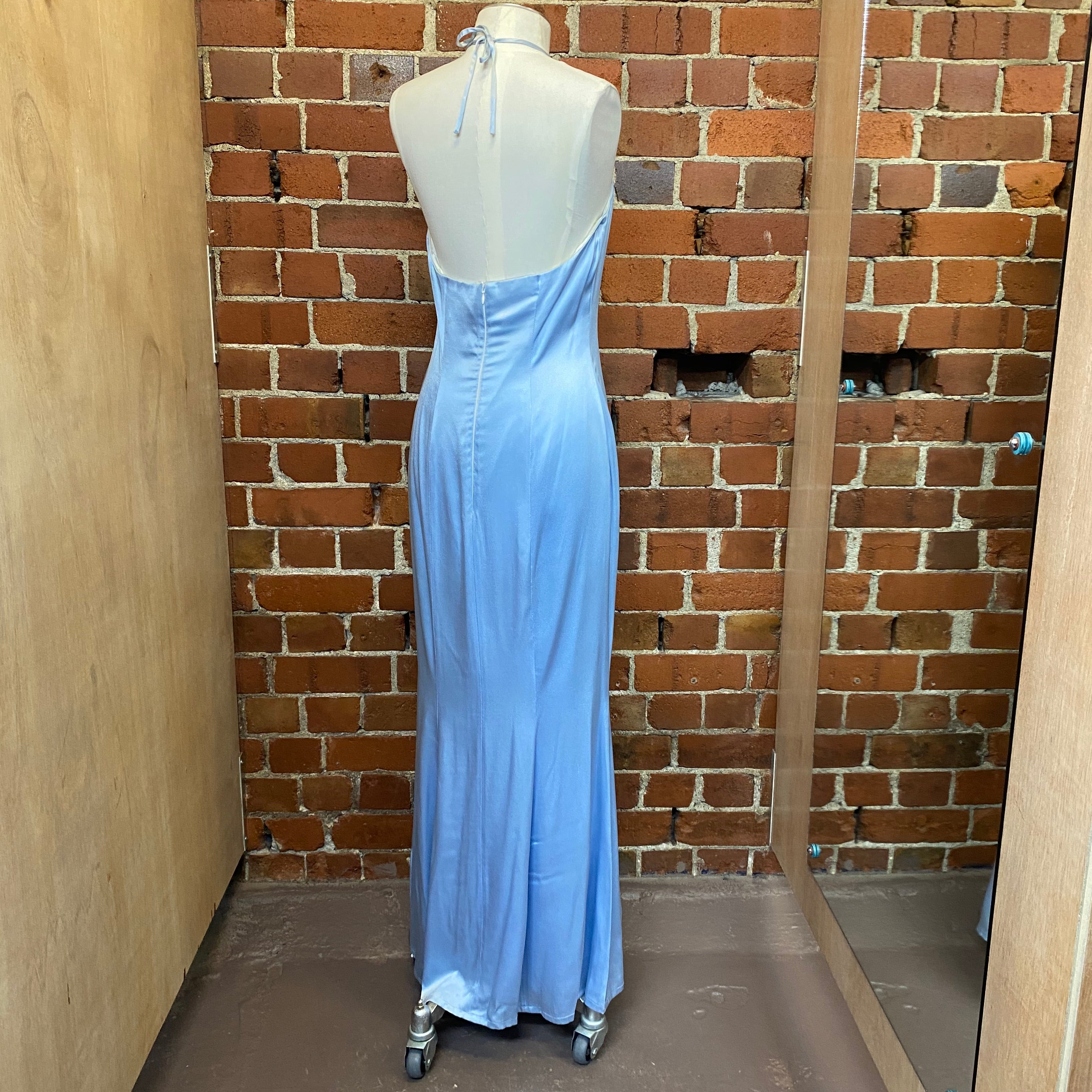 English Designer 1990s satin halter gown