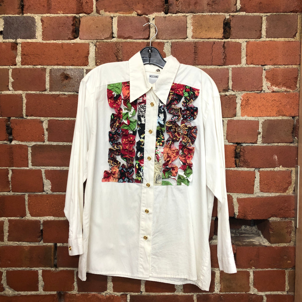 MOSCHINO 1980s frill front shirt