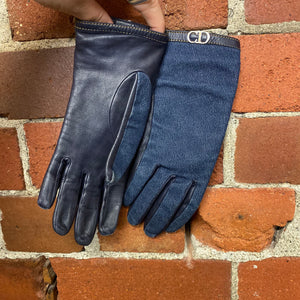 CHRISTIAN DIOR denim and leather gloves