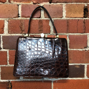 XOE HALL hand painted 1940s alligator skin bag