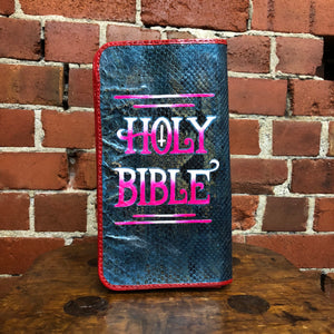 XOE HALL hand painted snakeskin bible clutch!