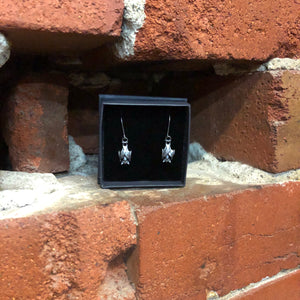William Griffiths Metal Couture Sterling silver oxidised bat earrings NEW