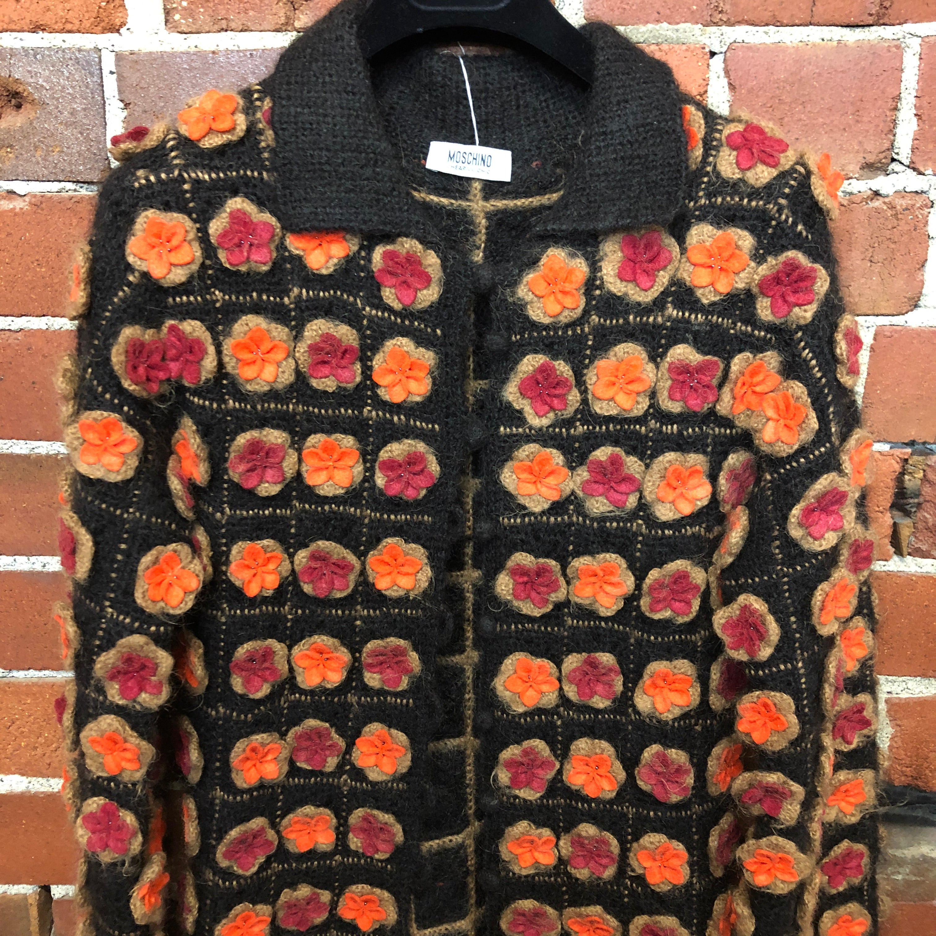 MOSCHINO pure wool crochet and hand felted flower 1990s maxi cardi coat