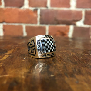 Sterling silver checkerboard ring