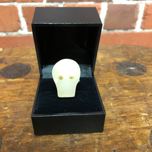NEIL ADCOCK New Zealand Topaz, 24K gold and sterling silver skull ring