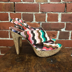 MISSONI woven fabric and cork heels! 38