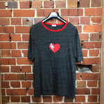 SAINT LAURENT Heart-Print Cotton Ringer T-shirt