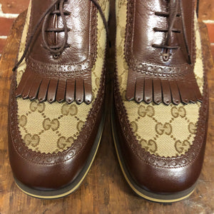GUCCI monogrammed leather brouges 10