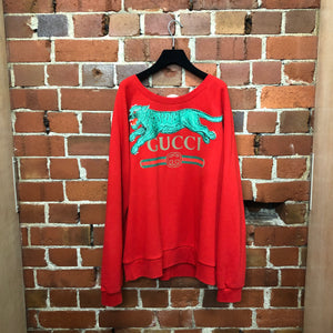 GUCCI embroidered green tiger jumper
