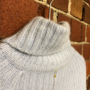 Angora wool roll neck jumper