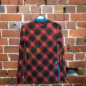 GAULTIER tartan punk tattoo mesh top