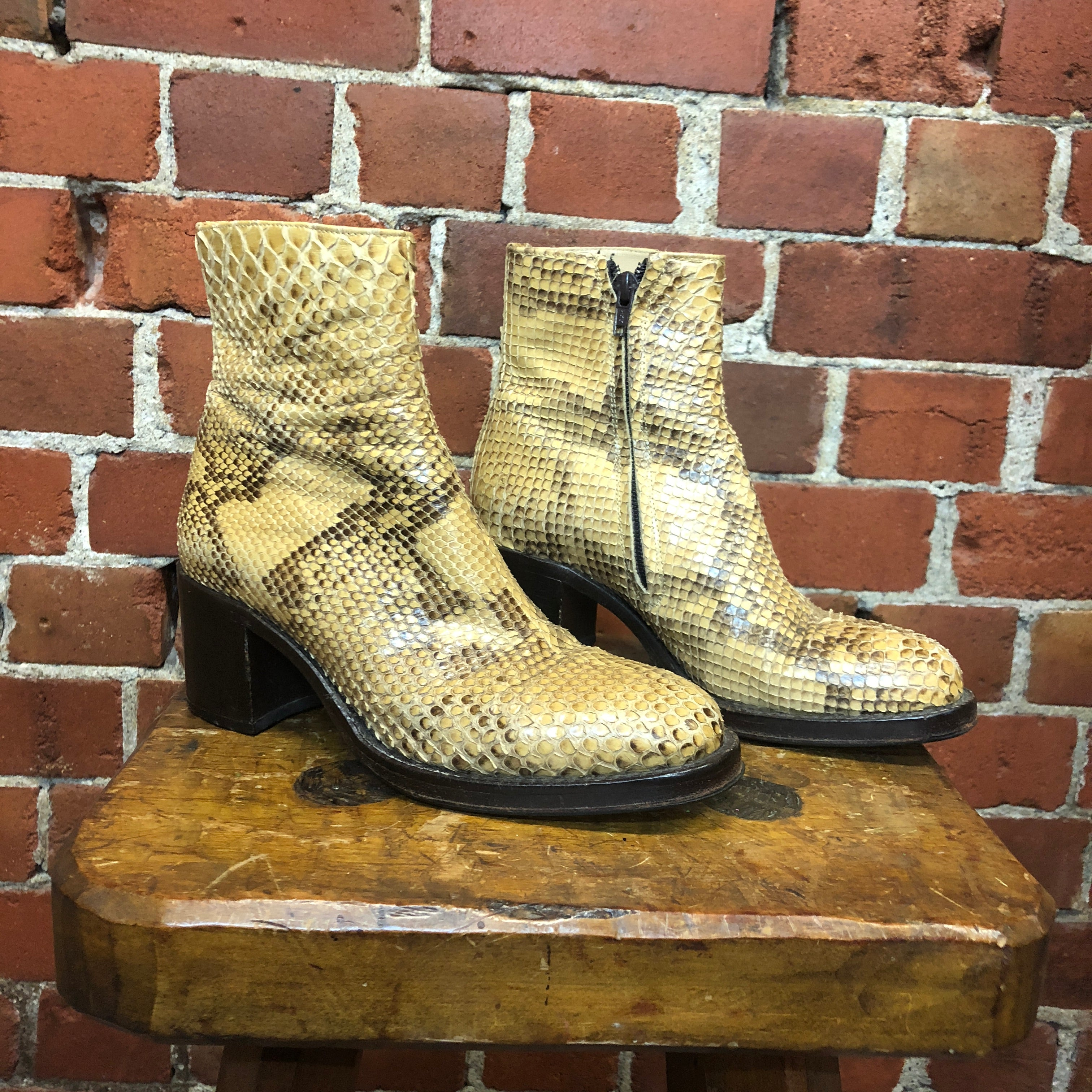 Genuine snakeskin leather ankle boots 37