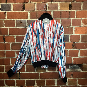 GAULTIER measuring tape print collab bomber jacket