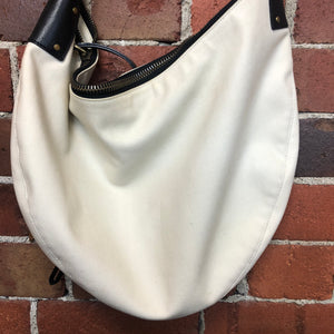 GUCCI canvas and leather shoulder handbag