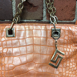 VERSACE authentic leather crocodile printed handbag