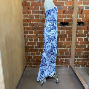 Blue and white pottery inspired evening gown