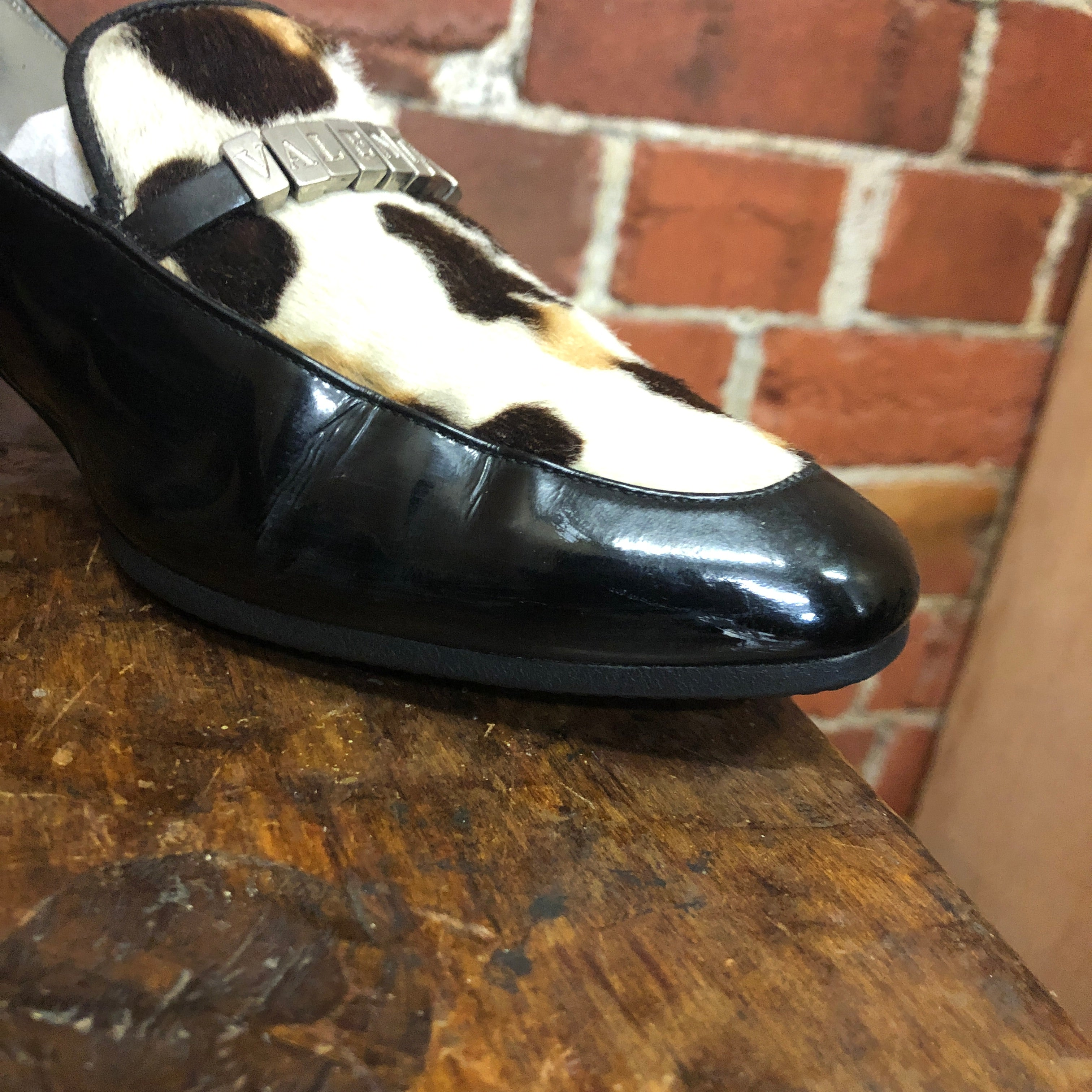 VALENTINO 1980s pony hair and patent loafers 39