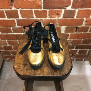ROCHAS gold leather espadrilles 41