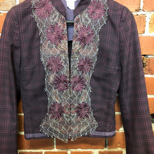 DRIES VAN NOTEN tartan cotton with lace applique jacket