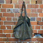 CELINE very beat up leather handbag