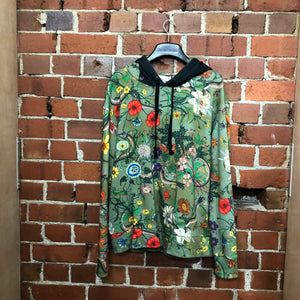 GUCCI Floral Snake-print cotton-jersey hooded sweatshirt