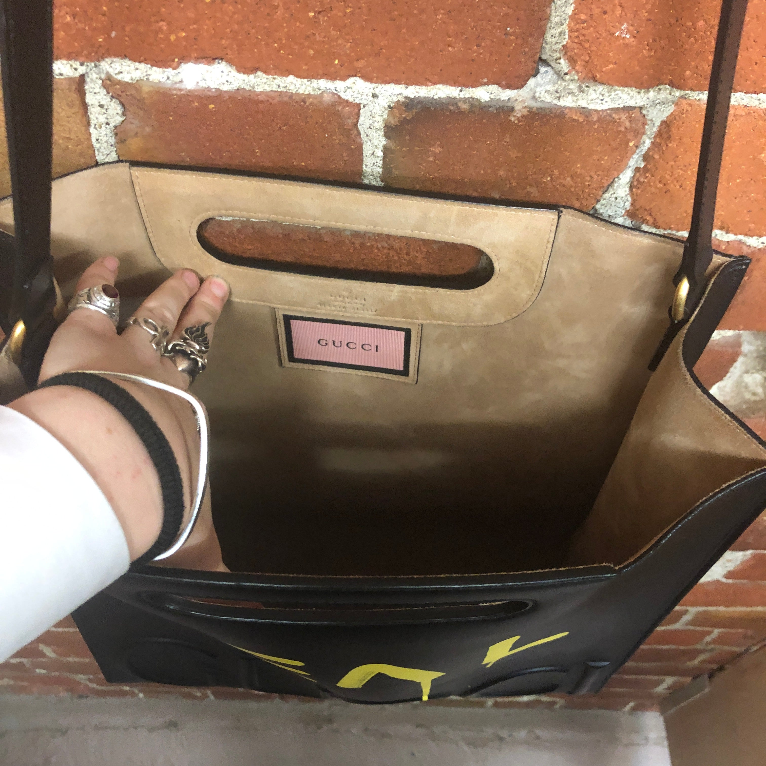 GUCCI GHOST iconic 'REAL GUCCI' leather tote bag