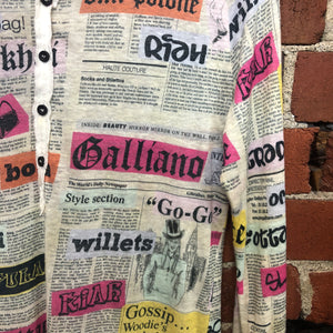 GALLIANO Newsprint linen knit top