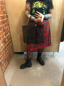 COMME DES GARCONS net and leather tote bag