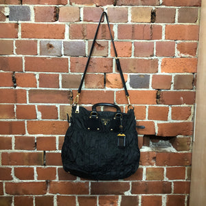 PRADA ruched nylon and leather handbag