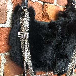 SONIA RYKIEL rabbit fur and rhinestone bag