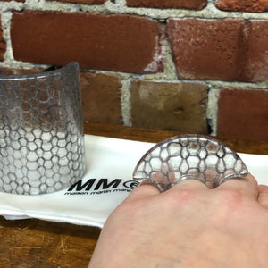 MARGIELA MM6 lucite plastic with woven wool inside cuff and ring set