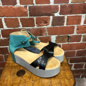 MARGIELA MM6 leather platform 3 tone sandals
