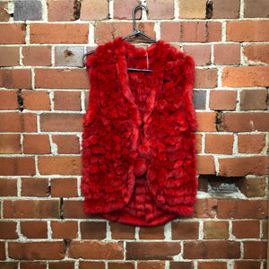 Red rabbit fur vest!