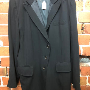 ANN DEMEULEMEESTER crepe split back coat with satin lapels