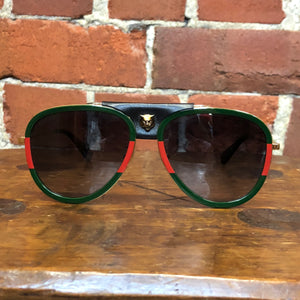 GUCCI aviator sunglasses with leather trim