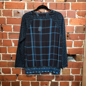 NOM-D tartan merino and crepe top