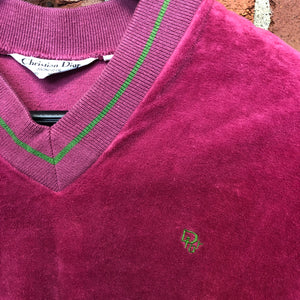 CHRISTIAN DIOR 1970s velour polo top