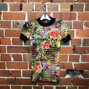 GAULTIER mesh floral striped print tee