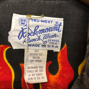 1980S USA western flame shirt