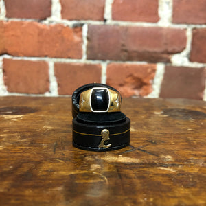 1930S Men 10K gold, Onyx and Diamond ring