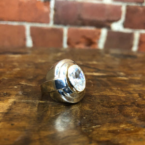 STG SILVER 10K GOLD AND CRYSTAL RING