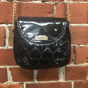 MOSCHINO quilted hearts patent leather bag