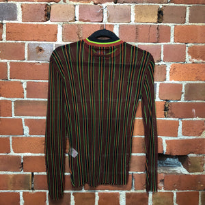 GAULTIER striped 1990s mesh top