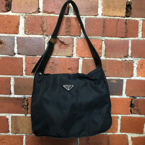 PRADA nylon and leather handbag